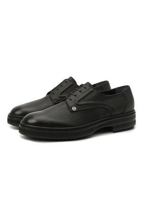 Мужские кожаные дерби ZILLI черного цвета, арт. MDS-A071/007   Фото 1 (Стили: Классический; Материал внешний: Кожа; Материал внутренний: Текстиль)