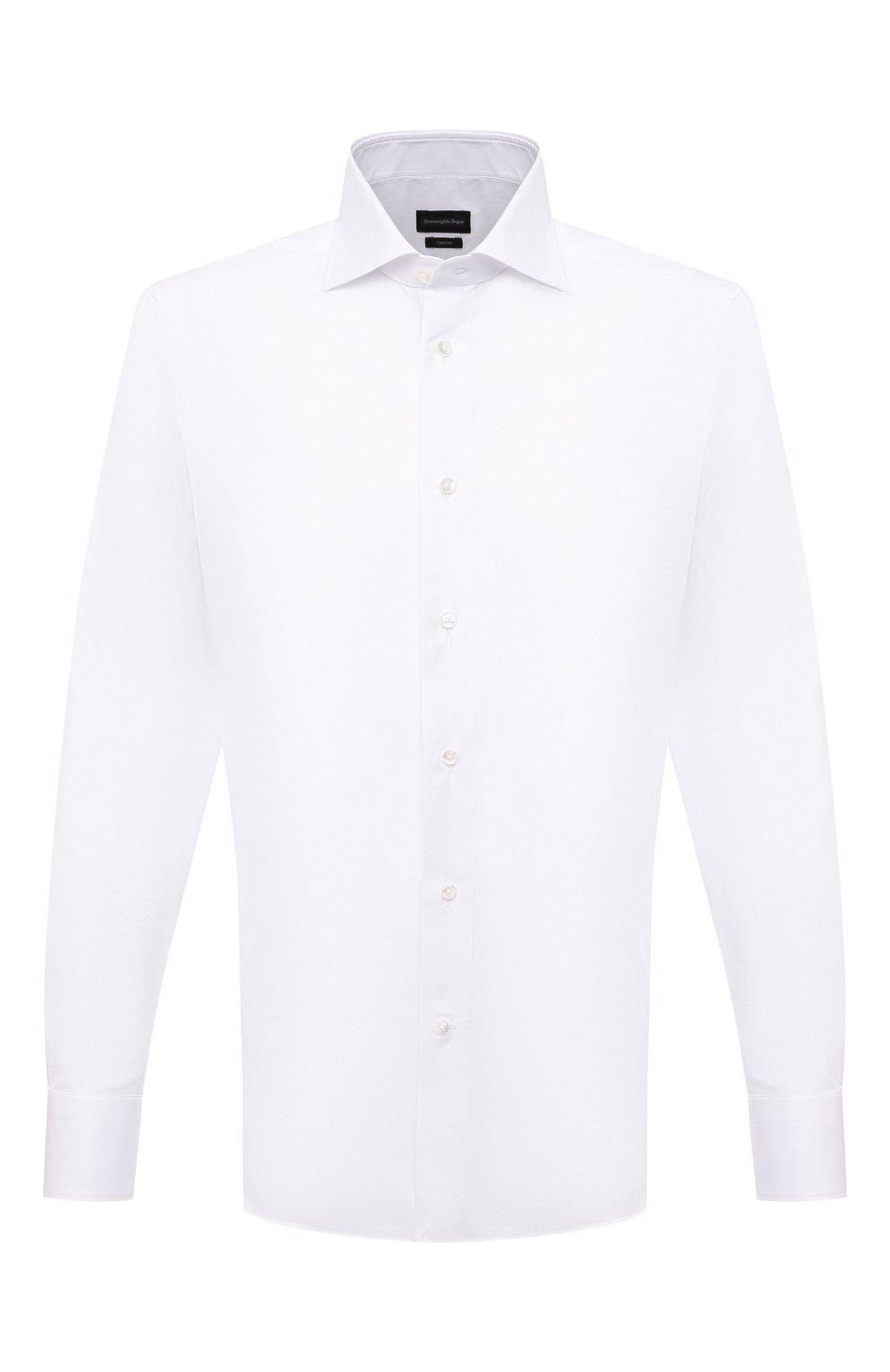 Мужская хлопковая сорочка ERMENEGILDO ZEGNA белого цвета, арт. 901032/9MS0BA | Фото 1