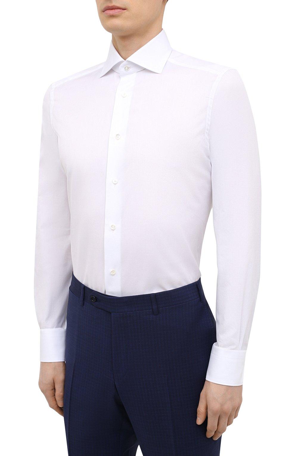 Мужская хлопковая сорочка ERMENEGILDO ZEGNA белого цвета, арт. 901032/9MS0BA | Фото 3