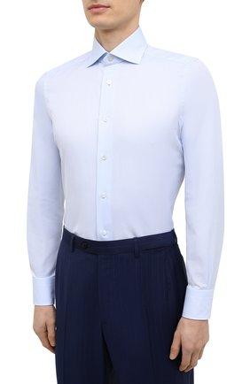 Мужская хлопковая сорочка ERMENEGILDO ZEGNA голубого цвета, арт. 901033/9MS0BA | Фото 3