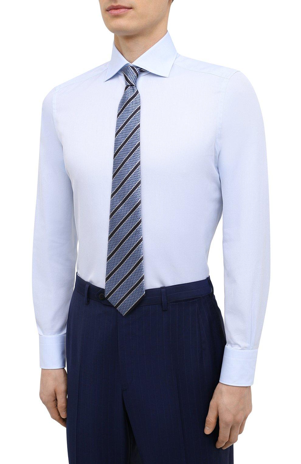 Мужская хлопковая сорочка ERMENEGILDO ZEGNA голубого цвета, арт. 901033/9MS0BA | Фото 4