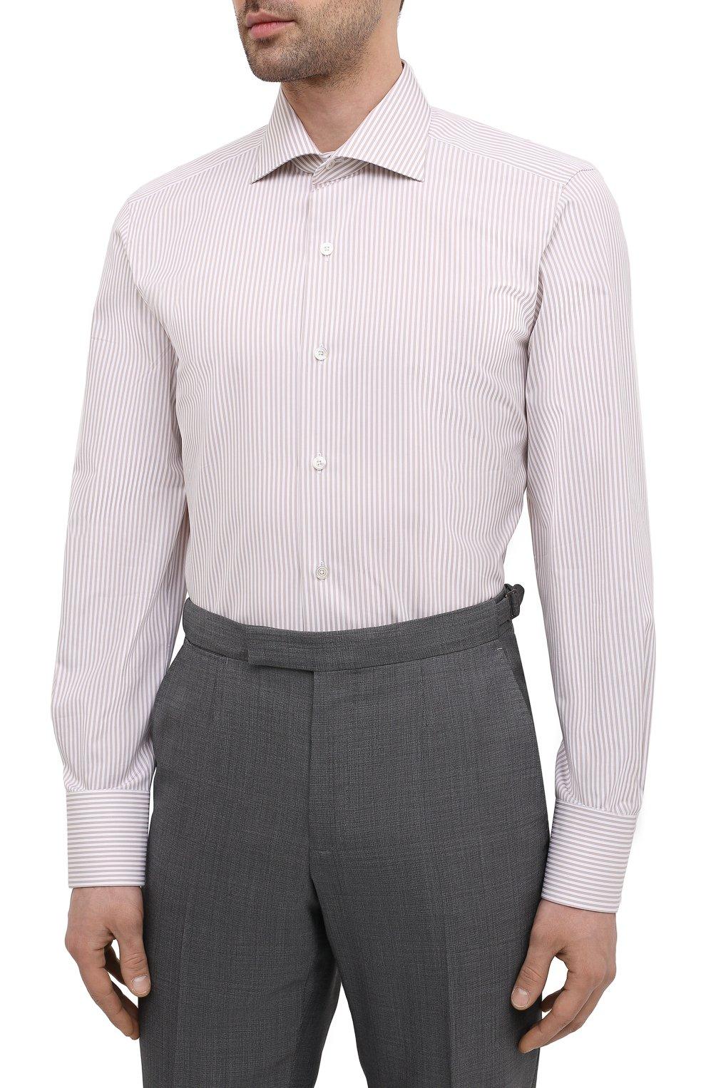 Мужская хлопковая сорочка TOM FORD бежевого цвета, арт. 9FT775/94S3AX | Фото 3 (Манжеты: На пуговицах; Рукава: Длинные; Рубашки М: Regular Fit; Воротник: Акула; Принт: Полоска; Длина (для топов): Стандартные; Материал внешний: Хлопок; Стили: Классический; Случай: Формальный)