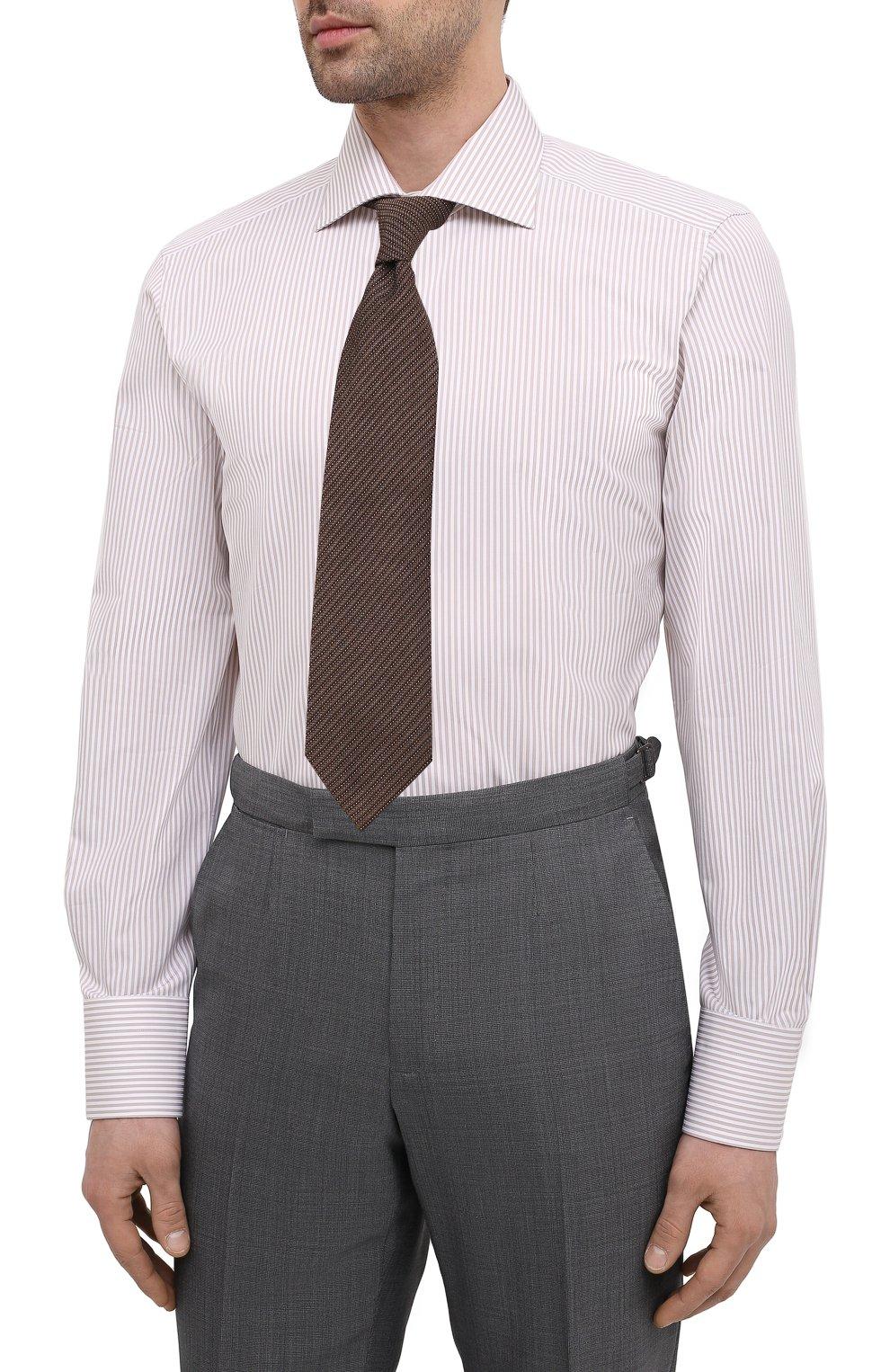 Мужская хлопковая сорочка TOM FORD бежевого цвета, арт. 9FT775/94S3AX | Фото 4 (Манжеты: На пуговицах; Рукава: Длинные; Рубашки М: Regular Fit; Воротник: Акула; Принт: Полоска; Длина (для топов): Стандартные; Материал внешний: Хлопок; Стили: Классический; Случай: Формальный)