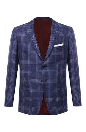 Мужской пиджак из кашемира и шелка KITON темно-синего цвета, арт. UG81K06T46   Фото 1