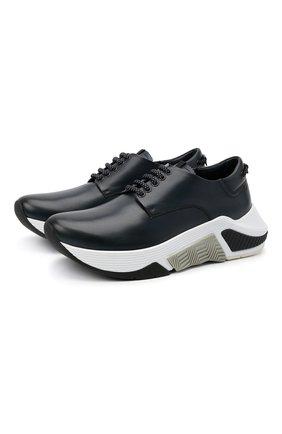 Мужские кожаные кроссовки GIORGIO ARMANI темно-синего цвета, арт. X2X136/XF529 | Фото 1