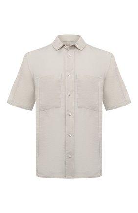 Мужская льняная рубашка TRANSIT бежевого цвета, арт. CFUTRNV311 | Фото 1 (Рукава: Короткие; Материал внешний: Лен; Принт: Однотонные; Длина (для топов): Стандартные; Случай: Повседневный; Воротник: Кент; Стили: Кэжуэл)