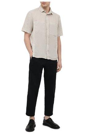 Мужская льняная рубашка TRANSIT бежевого цвета, арт. CFUTRNV311 | Фото 2 (Рукава: Короткие; Материал внешний: Лен; Принт: Однотонные; Длина (для топов): Стандартные; Случай: Повседневный; Воротник: Кент; Стили: Кэжуэл)