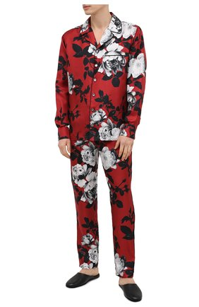 Мужские шелковые домашние брюки DOLCE & GABBANA красного цвета, арт. GYB0HT/IS1GM   Фото 2