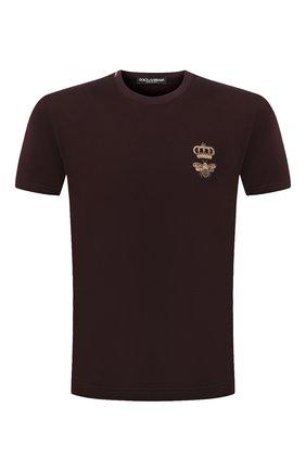 Мужская хлопковая футболка DOLCE & GABBANA бордового цвета, арт. G8MM6Z/FU7EQ | Фото 1