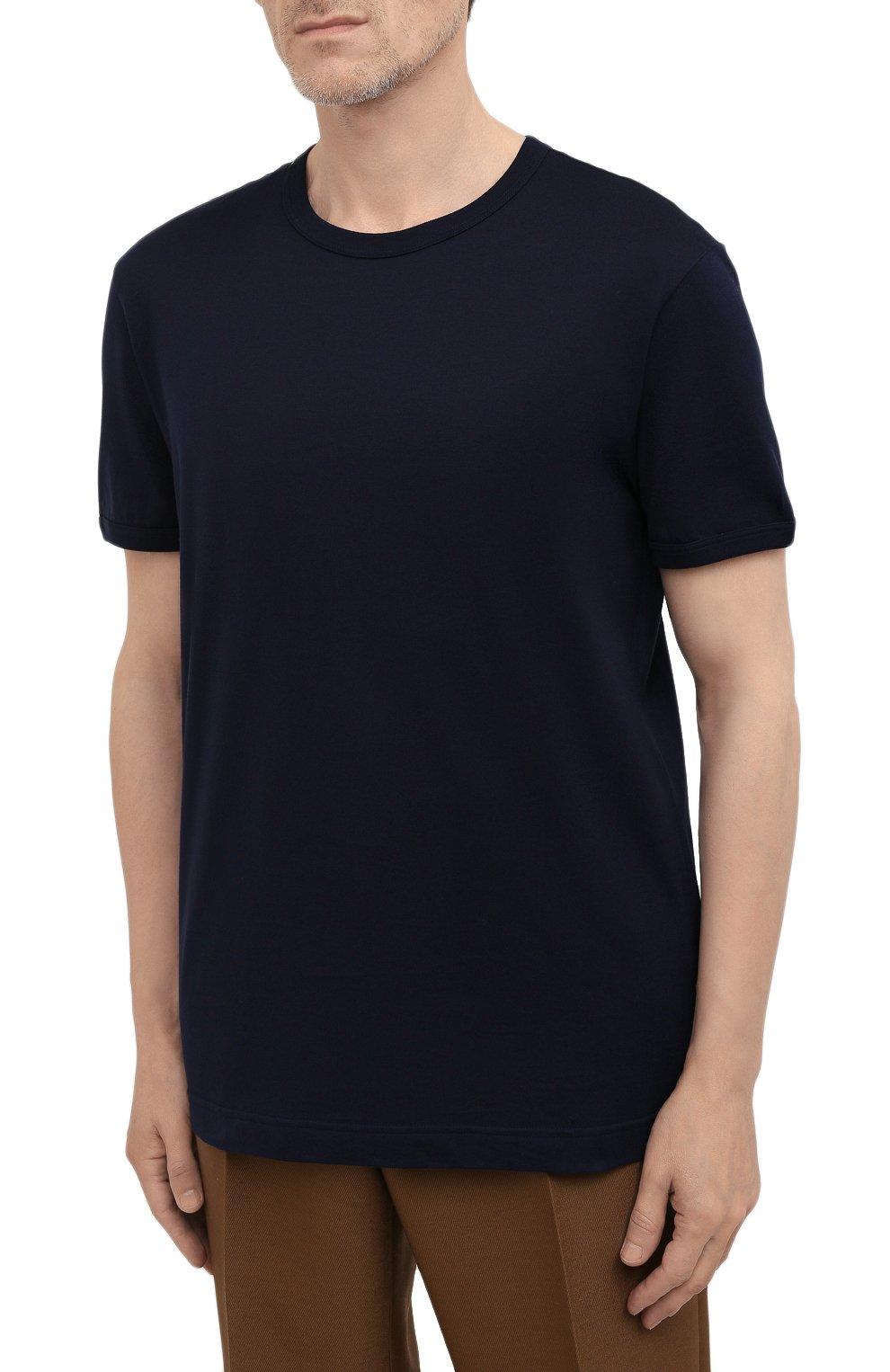 Мужская хлопковая футболка DOLCE & GABBANA синего цвета, арт. G8JX7T/FU7EQ | Фото 3