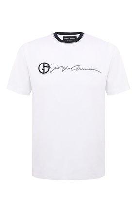 Мужская хлопковая футболка GIORGIO ARMANI белого цвета, арт. 3KSM72/SJRQZ   Фото 1 (Материал внешний: Хлопок; Длина (для топов): Стандартные; Принт: С принтом; Рукава: Короткие; Стили: Кэжуэл)