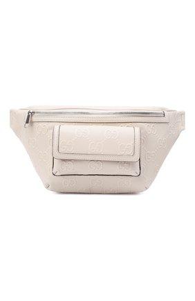 Мужская кожаная поясная сумка GUCCI белого цвета, арт. 645093/1W3CN | Фото 1 (Материал: Натуральная кожа)