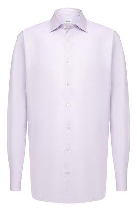 Мужская сорочка из хлопка и шелка BRIONI сиреневого цвета, арт. RCL40L/P007Y | Фото 1 (Рукава: Длинные; Рубашки М: Regular Fit; Случай: Формальный; Принт: Однотонные; Материал внешний: Хлопок; Воротник: Акула; Длина (для топов): Стандартные; Манжеты: На пуговицах; Стили: Классический)