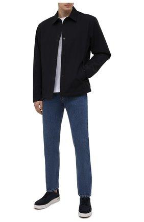 Мужская утепленная куртка Z ZEGNA темно-синего цвета, арт. VW057/ZZT038 | Фото 2 (Принт: Без принта; Рукава: Длинные; Кросс-КТ: Куртка; Стили: Кэжуэл; Материал подклада: Синтетический материал; Длина (верхняя одежда): Короткие; Мужское Кросс-КТ: шерсть и кашемир; Материал внешний: Шерсть)