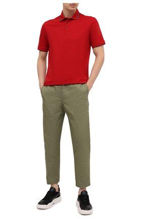 Мужское хлопковое поло Z ZEGNA красного цвета, арт. VW360/ZZ661 | Фото 2 (Застежка: Пуговицы; Стили: Кэжуэл; Длина (для топов): Стандартные; Рукава: Короткие; Материал внешний: Хлопок)