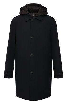 Мужской комплект из плаща и жилета Z ZEGNA темно-синего цвета, арт. VW037/ZZ205 | Фото 1 (Мужское Кросс-КТ: Плащ-верхняя одежда; Рукава: Длинные; Материал подклада: Синтетический материал; Длина (верхняя одежда): До середины бедра; Стили: Кэжуэл; Материал внешний: Синтетический материал)