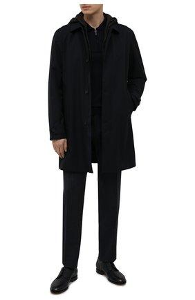 Мужской комплект из плаща и жилета Z ZEGNA темно-синего цвета, арт. VW037/ZZ205 | Фото 2 (Мужское Кросс-КТ: Плащ-верхняя одежда; Рукава: Длинные; Материал подклада: Синтетический материал; Длина (верхняя одежда): До середины бедра; Стили: Кэжуэл; Материал внешний: Синтетический материал)