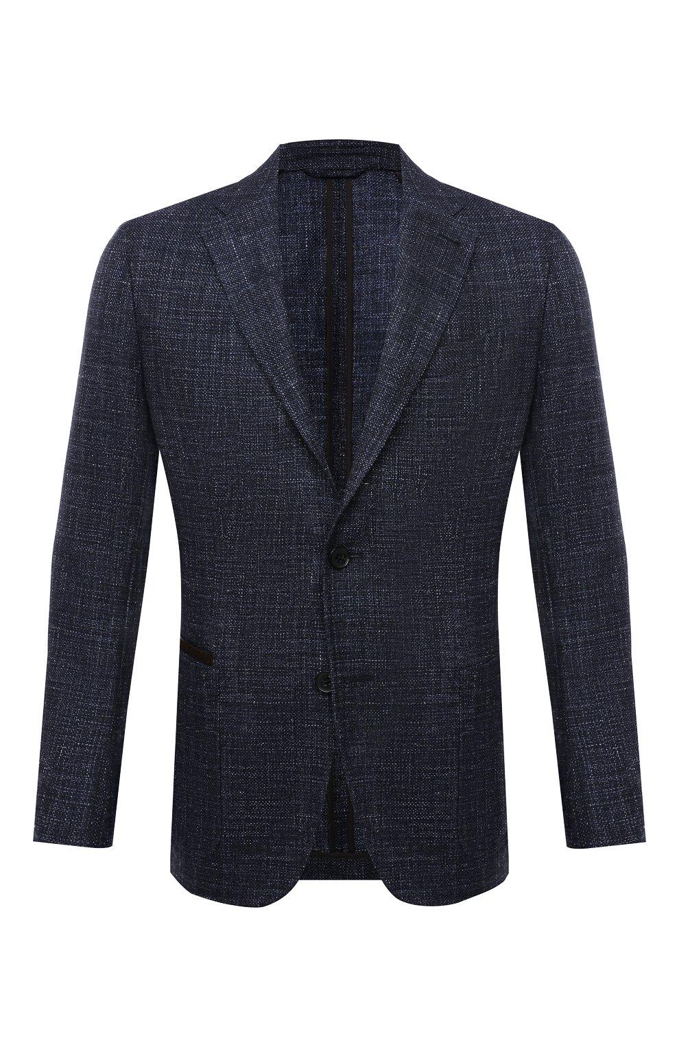 Мужской пиджак из шерсти и шелка ERMENEGILDO ZEGNA темно-синего цвета, арт. UWC30/SQR | Фото 1 (Случай: Коктейльный; Материал внешний: Шерсть; Рукава: Длинные; Длина (для топов): Стандартные; Стили: Классический; 1-2-бортные: Однобортные; Материал подклада: Хлопок; Пиджаки М: Приталенный)