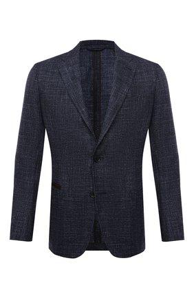 Мужской пиджак из шерсти и шелка ERMENEGILDO ZEGNA темно-синего цвета, арт. UWC30/SQR | Фото 1 (Материал внешний: Шерсть; Пиджаки М: Приталенный; Стили: Классический; Случай: Коктейльный; 1-2-бортные: Однобортные; Длина (для топов): Стандартные; Рукава: Длинные; Материал подклада: Хлопок)