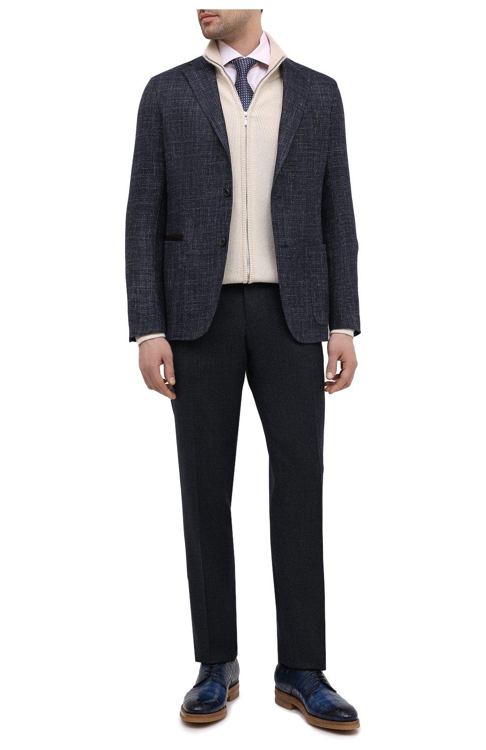 Мужской пиджак из шерсти и шелка ERMENEGILDO ZEGNA темно-синего цвета, арт. UWC30/SQR | Фото 2 (Случай: Коктейльный; Материал внешний: Шерсть; Рукава: Длинные; Длина (для топов): Стандартные; Стили: Классический; 1-2-бортные: Однобортные; Материал подклада: Хлопок; Пиджаки М: Приталенный)