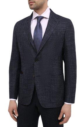 Мужской пиджак из шерсти и шелка ERMENEGILDO ZEGNA темно-синего цвета, арт. UWC30/SQR | Фото 3 (Случай: Коктейльный; Материал внешний: Шерсть; Рукава: Длинные; Длина (для топов): Стандартные; Стили: Классический; 1-2-бортные: Однобортные; Материал подклада: Хлопок; Пиджаки М: Приталенный)