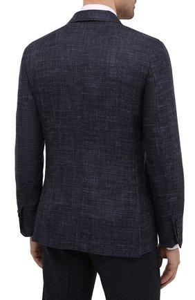 Мужской пиджак из шерсти и шелка ERMENEGILDO ZEGNA темно-синего цвета, арт. UWC30/SQR | Фото 4 (Случай: Коктейльный; Материал внешний: Шерсть; Рукава: Длинные; Длина (для топов): Стандартные; Стили: Классический; 1-2-бортные: Однобортные; Материал подклада: Хлопок; Пиджаки М: Приталенный)