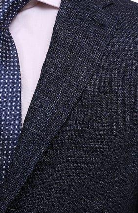 Мужской пиджак из шерсти и шелка ERMENEGILDO ZEGNA темно-синего цвета, арт. UWC30/SQR | Фото 5 (Случай: Коктейльный; Материал внешний: Шерсть; Рукава: Длинные; Длина (для топов): Стандартные; Стили: Классический; 1-2-бортные: Однобортные; Материал подклада: Хлопок; Пиджаки М: Приталенный)
