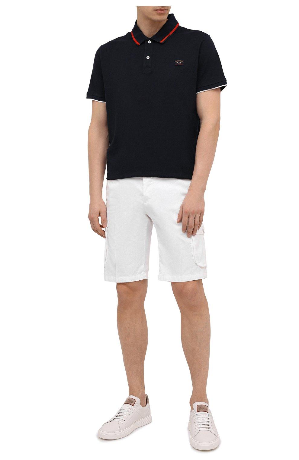Мужские шорты изо льна и хлопка KITON белого цвета, арт. UFPPBJ07T44   Фото 2 (Мужское Кросс-КТ: Шорты-одежда; Длина Шорты М: До колена; Принт: Без принта; Материал внешний: Хлопок, Лен; Стили: Кэжуэл)