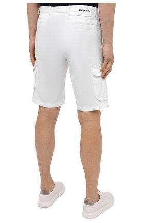 Мужские шорты изо льна и хлопка KITON белого цвета, арт. UFPPBJ07T44   Фото 4 (Мужское Кросс-КТ: Шорты-одежда; Длина Шорты М: До колена; Принт: Без принта; Материал внешний: Хлопок, Лен; Стили: Кэжуэл)