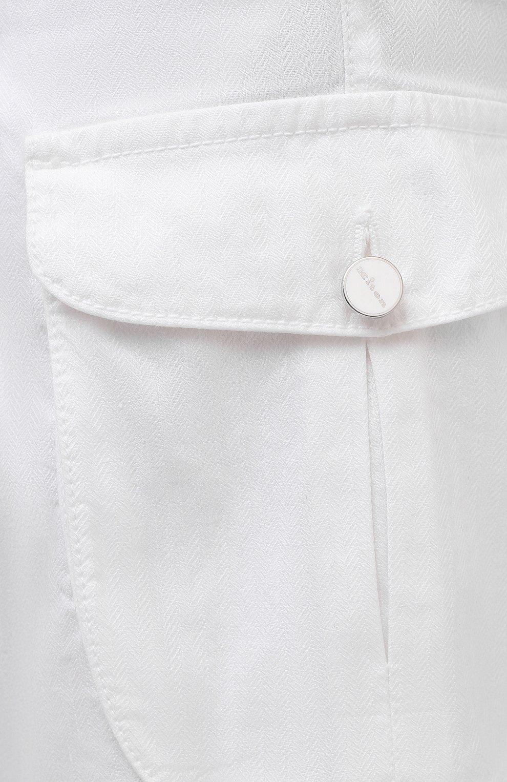 Мужские шорты изо льна и хлопка KITON белого цвета, арт. UFPPBJ07T44   Фото 5 (Мужское Кросс-КТ: Шорты-одежда; Длина Шорты М: До колена; Принт: Без принта; Материал внешний: Хлопок, Лен; Стили: Кэжуэл)