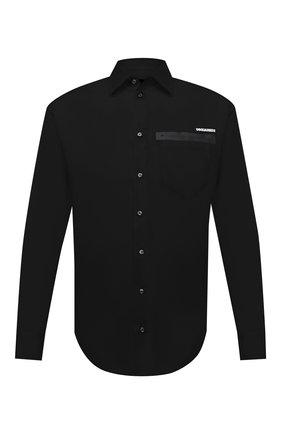 Мужская хлопковая рубашка DSQUARED2 черного цвета, арт. S74DM0514/S36275 | Фото 1