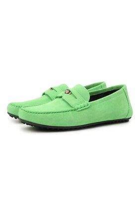 Мужские замшевые мокасины VERSACE зеленого цвета, арт. DSU7564/DCR01G   Фото 1