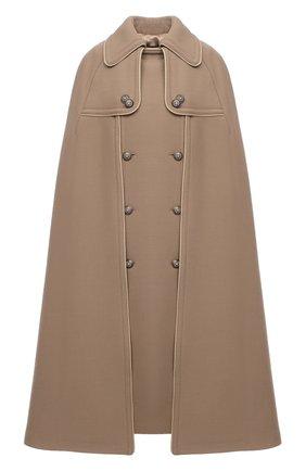 Женская шерстяное пончо DOLCE & GABBANA бежевого цвета, арт. F0Z23T/FU2C0   Фото 1 (Материал подклада: Шелк; Материал внешний: Шерсть; Стили: Кэжуэл; Длина (верхняя одежда): До колена)