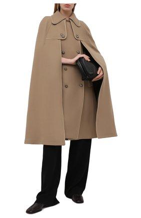 Женская шерстяное пончо DOLCE & GABBANA бежевого цвета, арт. F0Z23T/FU2C0   Фото 2 (Материал подклада: Шелк; Материал внешний: Шерсть; Стили: Кэжуэл; Длина (верхняя одежда): До колена)