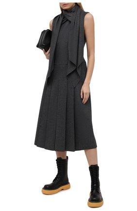 Женское шерстяное платье FENDI серого цвета, арт. FDA919 A8GF | Фото 2