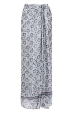 Женская шелковая юбка GIORGIO ARMANI светло-серого цвета, арт. 1SHNN050/T02M5 | Фото 1