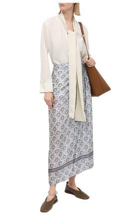 Женская шелковая юбка GIORGIO ARMANI светло-серого цвета, арт. 1SHNN050/T02M5 | Фото 2