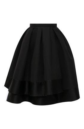 Женская шелковая юбка ALEXANDER MCQUEEN черного цвета, арт. 650313/QBAAR | Фото 1
