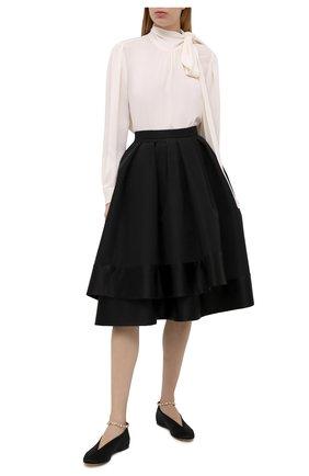 Женская шелковая юбка ALEXANDER MCQUEEN черного цвета, арт. 650313/QBAAR | Фото 2