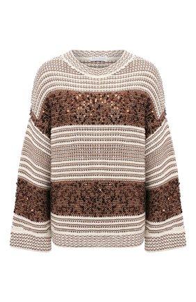 Женский свитер BRUNELLO CUCINELLI коричневого цвета, арт. MBA380600   Фото 1
