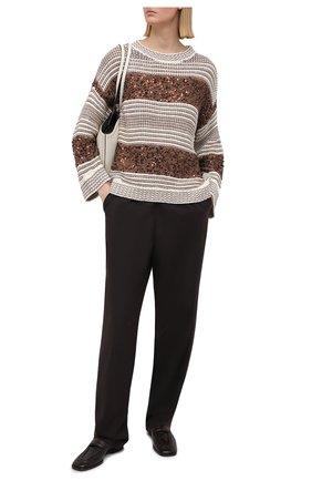 Женский свитер BRUNELLO CUCINELLI коричневого цвета, арт. MBA380600   Фото 2