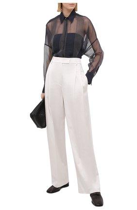 Женские брюки из вискозы и хлопка BRUNELLO CUCINELLI белого цвета, арт. M0H86P7512   Фото 2
