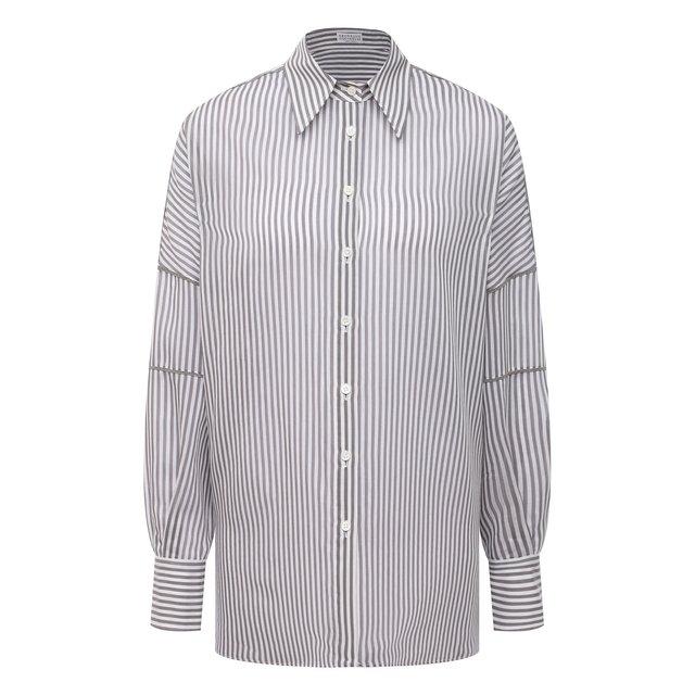 Рубашка из хлопка и шелка Brunello Cucinelli
