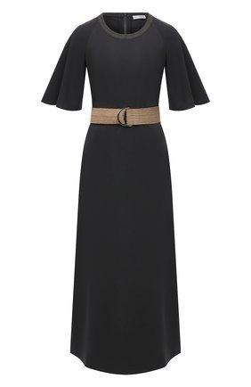 Женское хлопковое платье BRUNELLO CUCINELLI темно-серого цвета, арт. MH968ADT61 | Фото 1