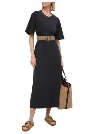 Женское хлопковое платье BRUNELLO CUCINELLI темно-серого цвета, арт. MH968ADT61 | Фото 2