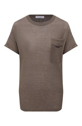 Женская льняная футболка BRUNELLO CUCINELLI хаки цвета, арт. M1T170020 | Фото 1