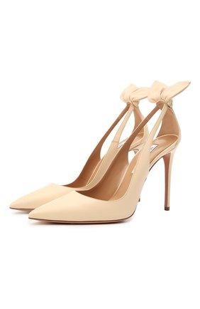 Женские кожаные туфли AQUAZZURA кремвого цвета, арт. DENHIGP0-NAP-CRM | Фото 1