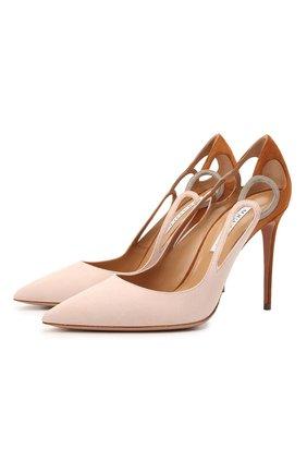Женские замшевые туфли AQUAZZURA разноцветного цвета, арт. FEXHIGP0-SUE-MPA | Фото 1