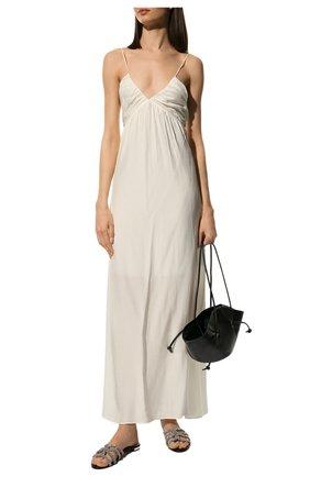 Женские кожаные шлепанцы moondust AQUAZZURA черного цвета, арт. MDTFLAA0-NAP-000 | Фото 2