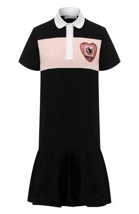 Женское хлопковое платье REDVALENTINO черного цвета, арт. VR3MJ06A/5Q6 | Фото 1